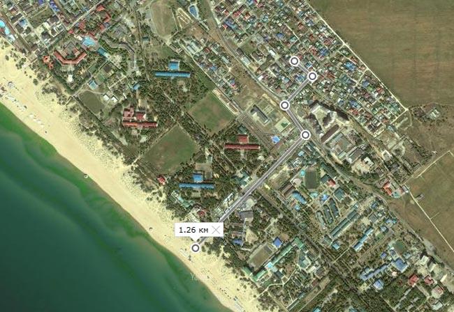 Расстояние от улицы Уютная до пляжа в районе Жемчужина России